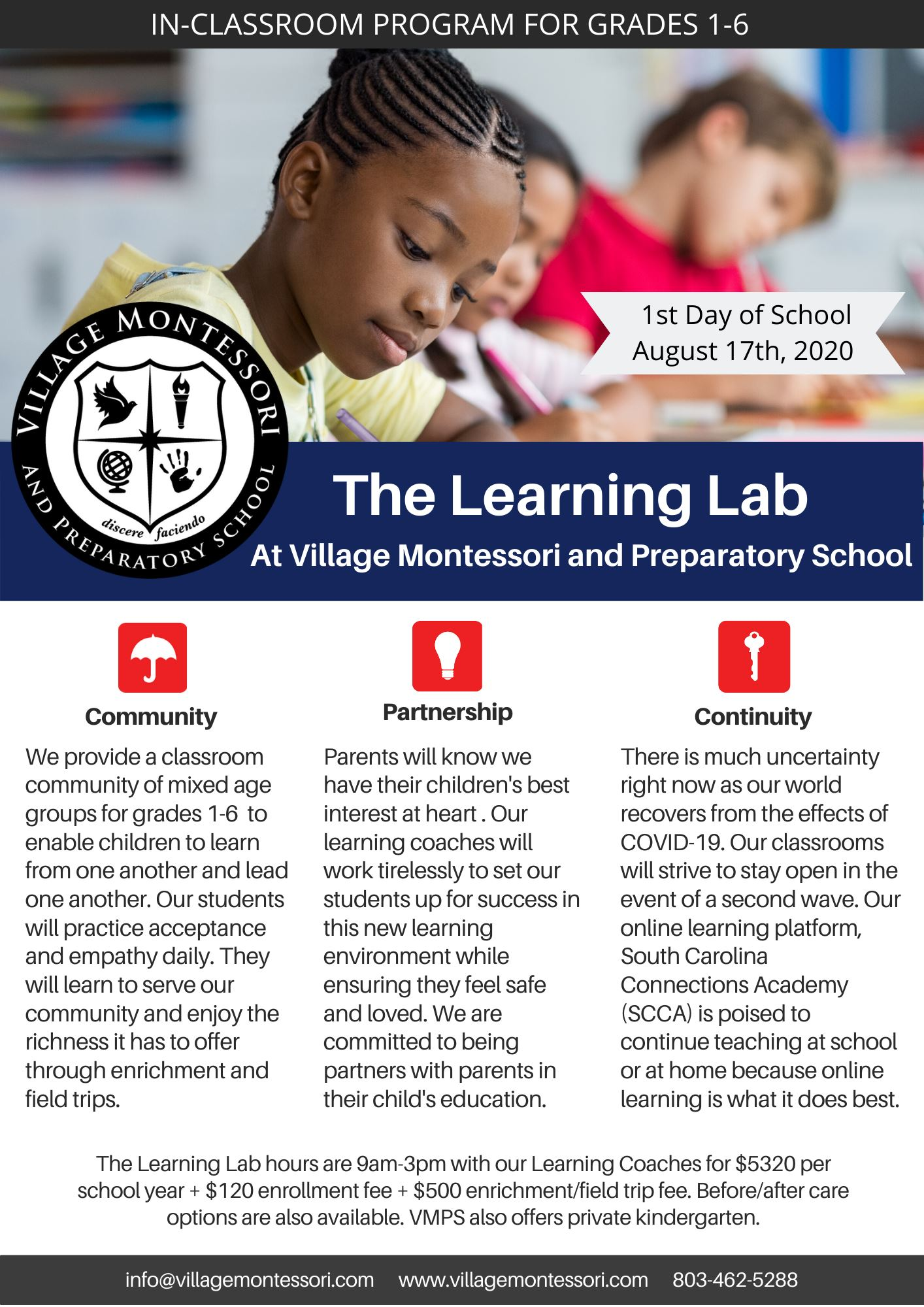The Learning Lab for SCCA - First Day of School